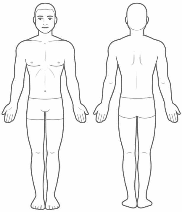 Tegnet mand med arme ud til siden, kikker mod dig og væk fra dig. Anatomi, Skader i kroppen, Behandling, Smerter, Klik på billedet.