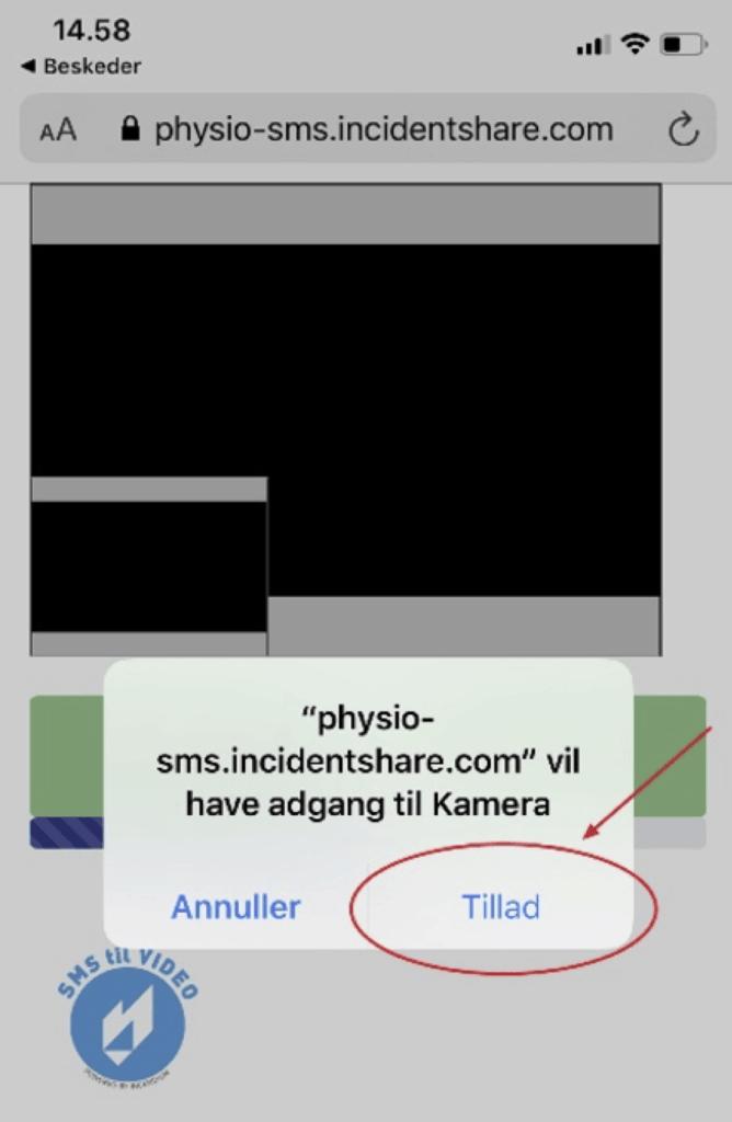 """Et screen shot fra en telefon, hvor der er en rød ring rundt om """"tillad"""". Med teksten, """"physio-sms.incidentshare.com"""" vil have adgang til kamera."""