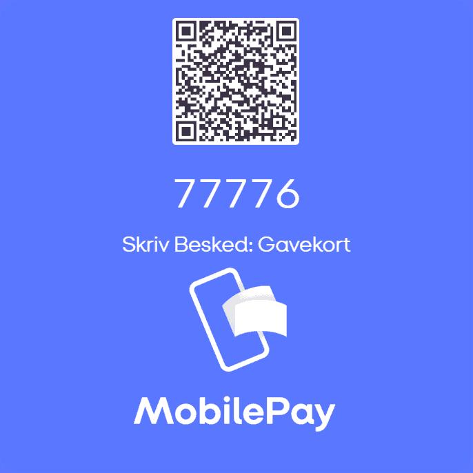 En QR kode med teksten, Skriv Besked: Gavekort og et telefonnummer 77776 , på en blå baggrund.
